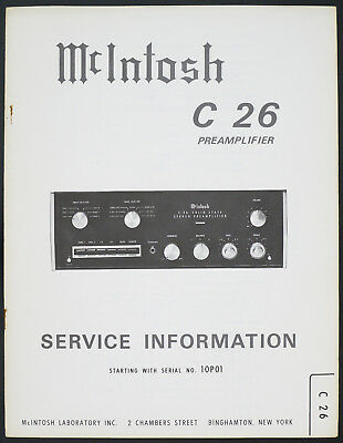 Mcintosh C-26 Original Préamplificateur Manuel de Service/Diagram/Pièces List