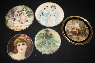 Lot of 5 Antique Victorian FLUE COVERS w/Assorted Designs: Woman Tavern Pastoral