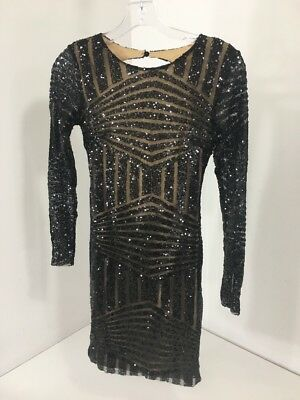 cdb6120058 Boohoo Boutique Women's Beth Sequin Open Back Bodycon Dress Blk Uk8/us4 Nwt  $6