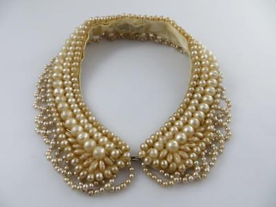 """Barr & Beards """"Top Hit"""" Fashion Hand Made Vintage Faux Pearl Collar"""