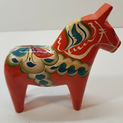 Hand Carved 6 in Red Swedish Dala Horse Folk Art Figurine Nils Olsson signed AF