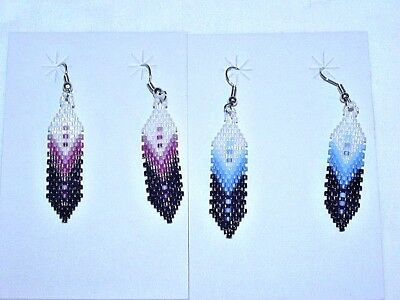 2 Pair Of Choctaw Indian Beaded Feather Earrings