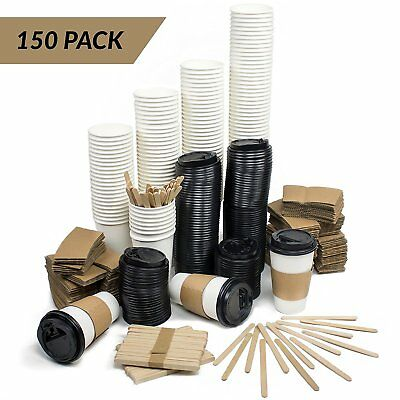 MEGA Set of 150 | Disposable Paper Coffee Hot Cups With Travel Lids, Sleeves & |