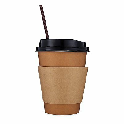 Disposable Coffee Cups - Hot Paper Coffee Cups, Lids, Sleeves, Straws - 12oz 100