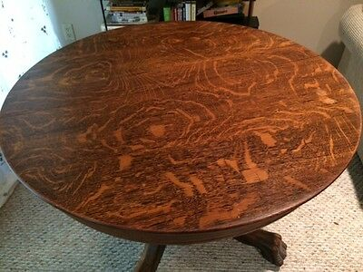 "Antique Claw Foot Tiger Oak Dining Table With Glass Top - 40"" Round"