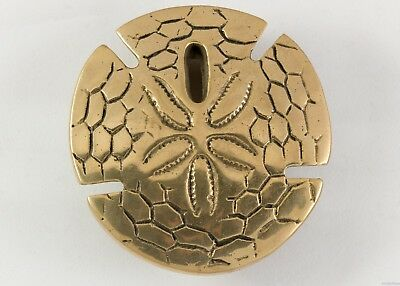 Vintage Antique Solid Brass Sand Dollar Shell Door Knocker Beach Coast Nautical