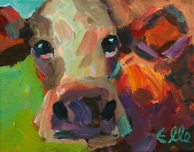 Elle Raines 8 X 10 Modern Abstract Colorful Cow Daily Farm Animal Painting A Day