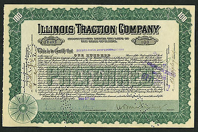 Illinois Traction Co (Maine) stock certificate, 1912, #B0493