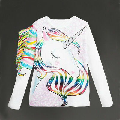 UK Stock Casual Toddler Kids Girls Summer Long Sleeve Unicorn Tops T-shirt