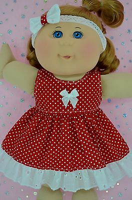 "Play n Wear Doll Clothes For 14"" Cabbage Patch RED POLKA DOT DRESS~HEADBAND"