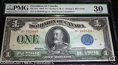 1923 DOMINION OF CANADA $1 . PMG 25  catalogue # DC25c BLUE SEAL