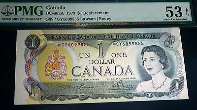 1973  *GY $1 Asterisk Replacement , BANK OF CANADA  Banknote PMG 53 about Unc