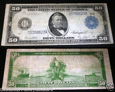 US 1914 Large Size  $50 Federal Reserve Note