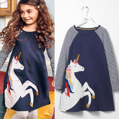 UK Cotton Kids Baby Girls Dress Unicorn Striped Dress Long Sleeve Party Dresses