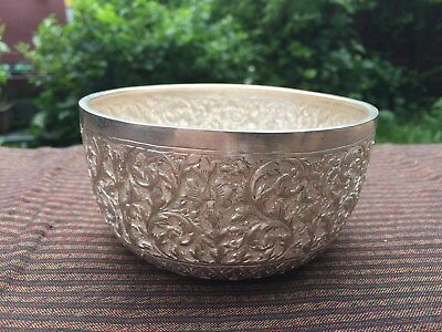 Unique Ornate Solid Silver Asian Handcrafts Exotic Bowl Embossed with floral