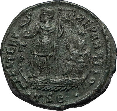 CONSTANTIUS on SHIP w Phonix Victory 351AD Authentic Ancient Roman Coin i67293