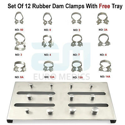 Dental Restorative Set of 12 Rubber Dam Clamps & Frame Colliers Dentist Tools CE