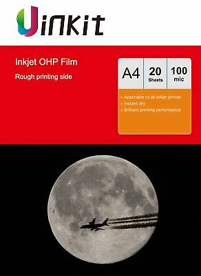 A4 OHP Film  For Inkjet Ink  Overhead Projector Acetate Clear - 20 Sheets Uinkit