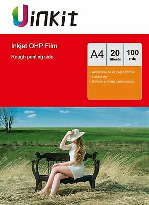 A4 Overhead Projector Film OHP Film Clear For Inkjet Printing - 20 Sheets Uinkit