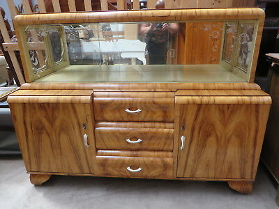 Vintage Art Deco Front Sideboard/Buffet/Glass display Cabinet, Light Wood Tones,