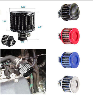 1x Carbon Mini Air Intake Oil Vent Filter Cover Breather Round Shape Universal
