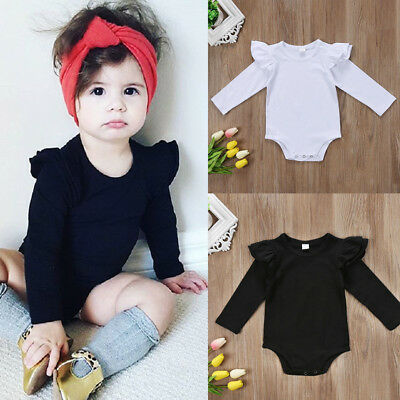 UK Stock Newborn Baby Girls Long Sleeve Bodysuit Romper Jumpsuit Outfits Clothes