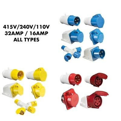 Industrial Plugs Sockets Red Blue Yellow Ip44 415V 240V 110V 16Amp 32Amp