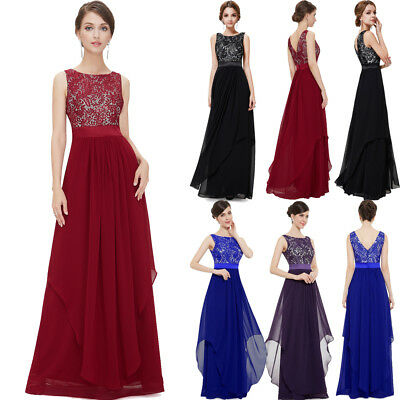 AU Women Formal Long Chiffon Lace Dress Ball Gown Prom Cocktail Party Bridesmaid