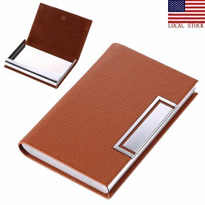 Pocket stainless steel metal business card holder case id credit business card case pocket wallet name credit card holder stainless steel brown reheart Images