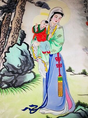 "Original EXQUISITE 1960s HAND PAINTED JAPANESE ""MOTHER INVIOLATE & CHILD on SILK"