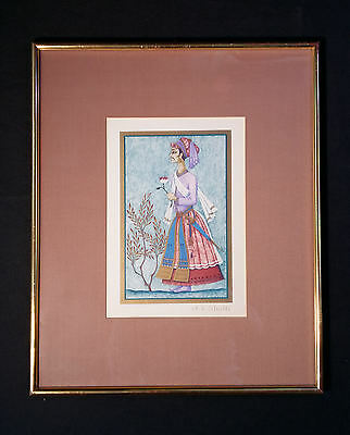 Charming Color Lithography 1001 Nights: orientalist. Anne Kristin Schaller 1939