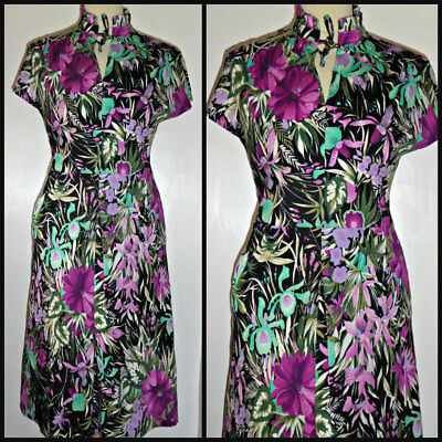 Vintage 60S 70S Hawaiian Tropical Tea Dress Uk 10