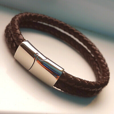 Mens Two Strand Stainless Steel Clasp Leather Wristband Bracelet