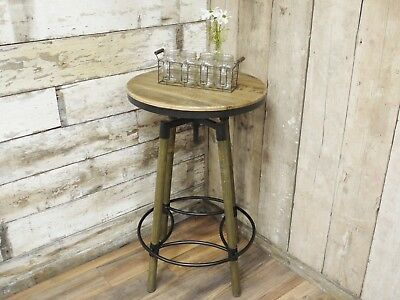 Adjustable Industrial Style Wooden Bar Table - Adjusts From 96-119cm Tall
