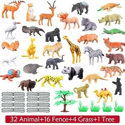 Jungle Animals Toy Set Plastic Figure Kids Toddlers Wild Farm Playset Pack of 54