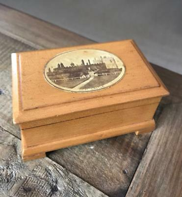 Beautiful Antique Mauchline Ware Box. Vintage Treen Box. Deal Castle.