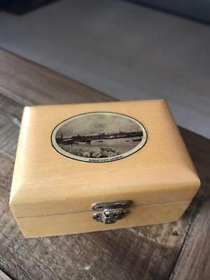 Beautiful Antique Mauchline Ware Box. Vintage Treen Box. Kingstown Harbour