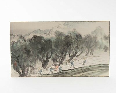 """Antique Japanese Watercolor Painting of Travelers on Paper Board 19"""" x 10-5/8"""""""