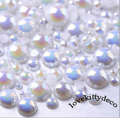 800 Pcs AB White Color Flatback Round Half Faux Pearls Beads DIY Crafts Nail Art