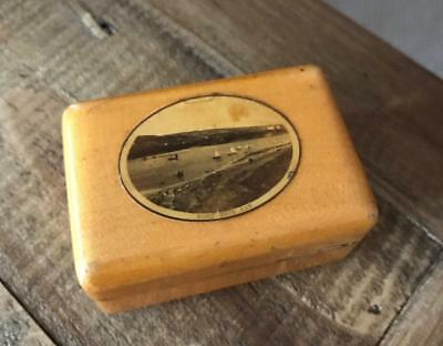 Beautiful Antique Mauchline Ware Box. Vintage Treen Box. Port Erin Bay