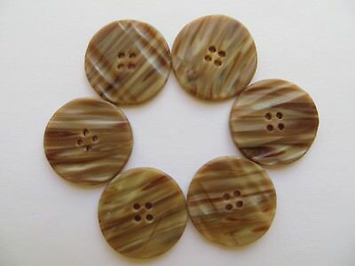 1930s Vintage Med Deco Striped Cream Brown Coat Craft Collectible Buttons-23mm