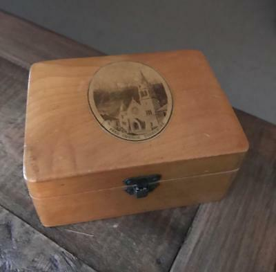 Beautiful Antique Mauchline Ware Box. Vintage Treen Box. Free Church Tobermory