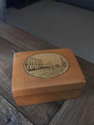 Antique Mauchline Ware Box. Vintage Treen Box. The Clock Tower Herne Bay