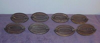 Antique Period Federal Hepplewhite Oval Drawer Pulls 200 Years Old Set of 8