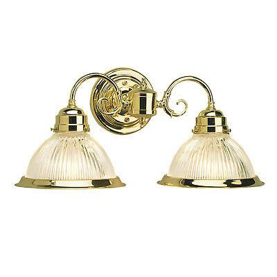 Design House 503029 Millbridge Wall Mount ~ Polished Brass W/ Clear Ribbed Glass