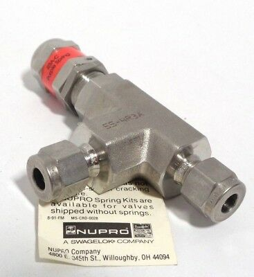 "Swagelok Nupro High Pressure Prop. Relief Valve 1/4"" Tube fitting 750-1500 psi"