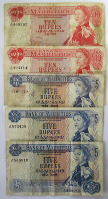 Mauritius 10 and 5  Rupee 1967 Banknotes Queen Elizabeth in F Condition