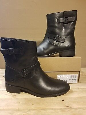 a8f7e366ab4 UGG AUSTRALIA FLETCHER black water resistant leather women's boot size 9.5US