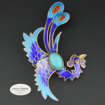 Vintage Chinese Export Enamel Gilt Sterling Silver Phoenix Turquoise Brooch