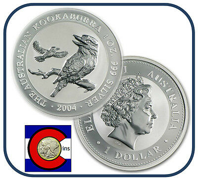 2004 Australia Kookaburra 1 oz. Silver Coin - BU direct from Perth Mint roll